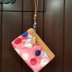 COACH wristlet womens pink coach logo Purse wallet